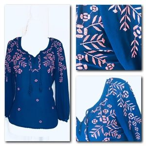 Blue Pink Embroidered Blouse